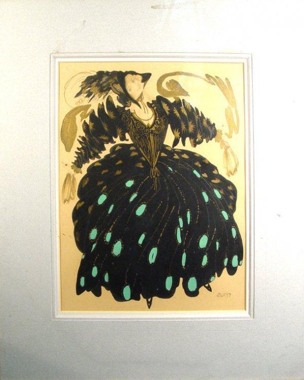966: Cakst - Pencil, watercolour and gilt portrait of a