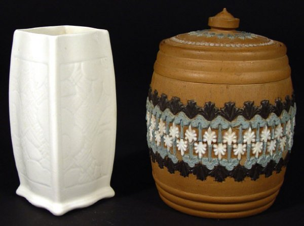 1208: Doulton siliconware tobacco jar and cover and an
