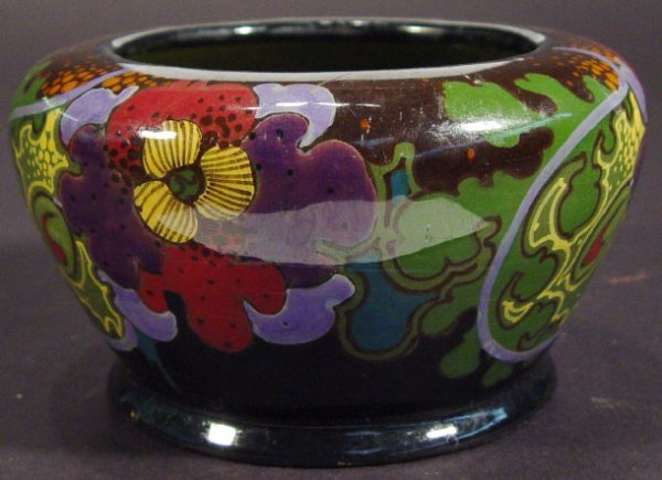 1213: Gauda Ivora pottery bowl hand painted with Art No