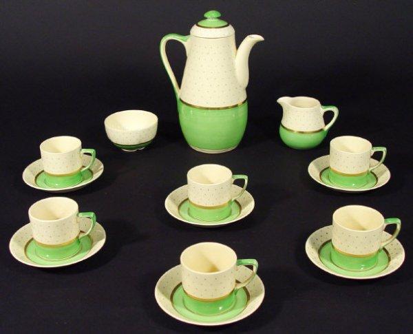 1214: Grays Pottery Art Deco Sunbuff pattern six place