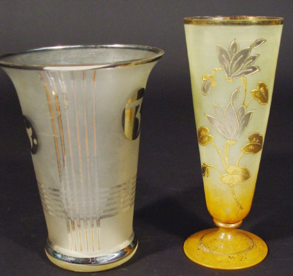 1218: Art Deco frost and silver lustre glass vase and a