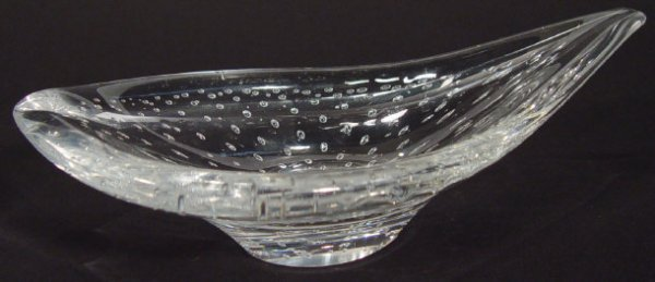 1222: Kosta clear glass dish of organic form with inter