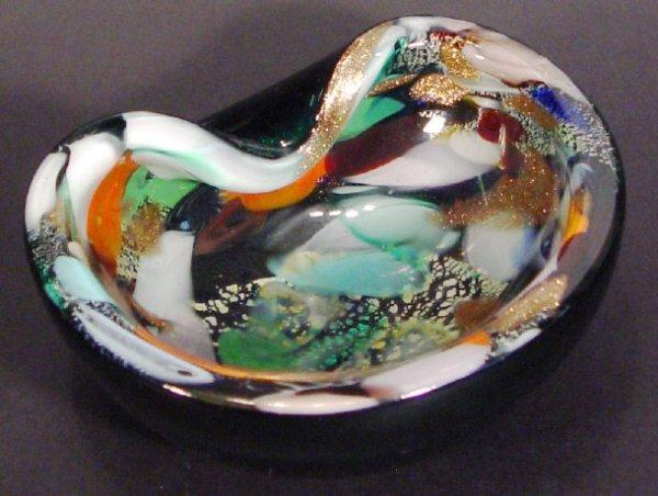 1224: 1960s Murano Millefiore pinched green glass dish