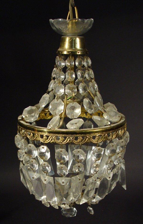 1322: Brass and cut glass bag chandelier, 21cm diameter