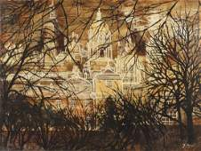 School of John Piper - City with cathedral, oil on