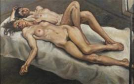 After Lucian Freud - Two nude figures laying on a bed,