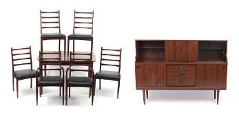 Rosewood veneer dining suite comprising extending