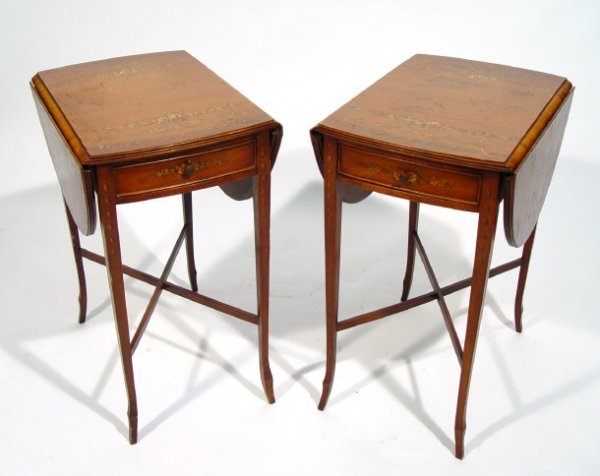 1: Pair of Sheraton Revival satinwood Pembroke tables o