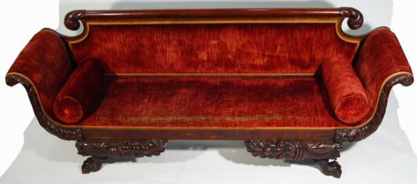 3: 19th century mahogany settee, with swan shaped arms