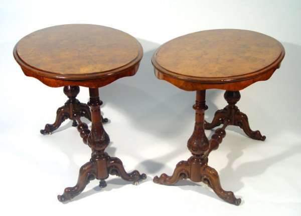 4: Pair of Victorian burr walnut oval stretcher tables,