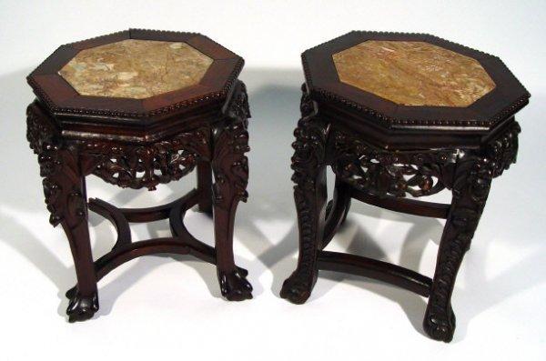 8: Pair of oriental carved hardwood octagonal plant sta