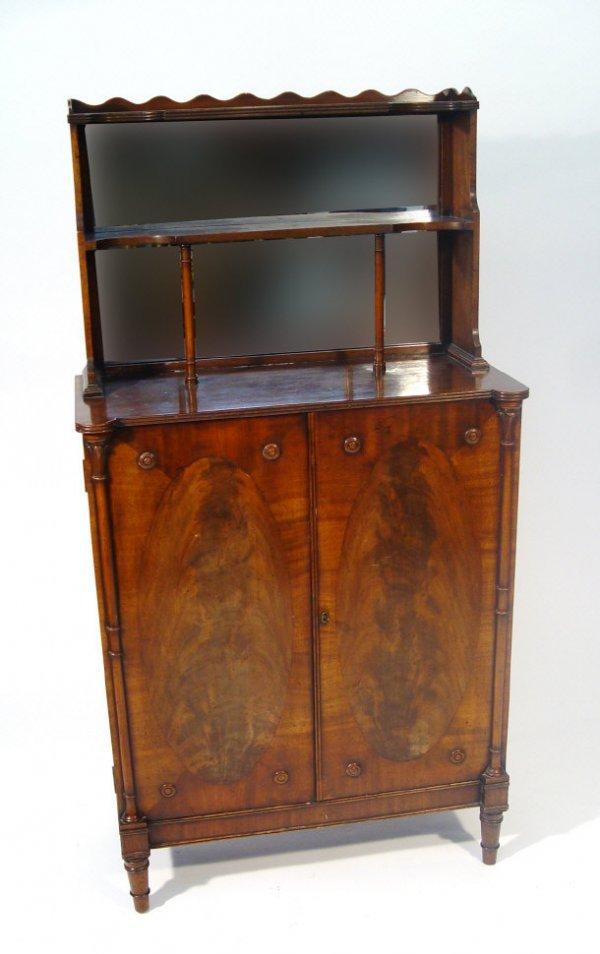10: Regency style mahogany chiffonier, the mirrored bac