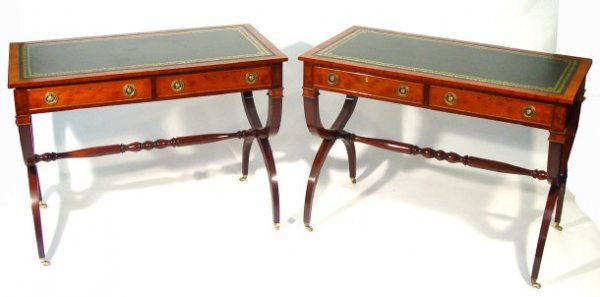 16: Pair of rectangular yew wood writing tables, each w