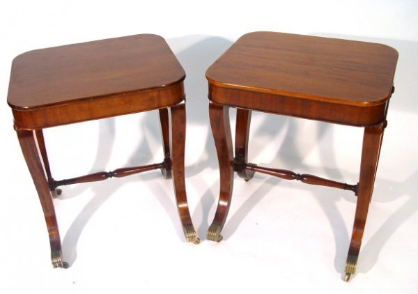 17: Pair of Empire design mahogany side tables, each re