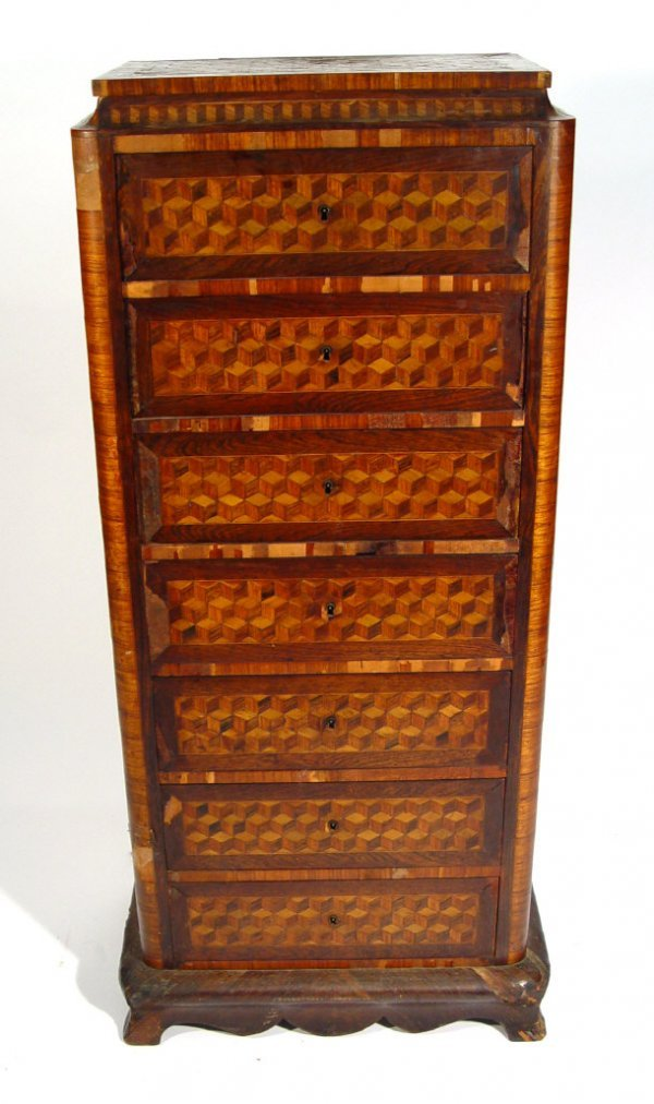 20: 19th century French rosewood tallboy with cubed mar