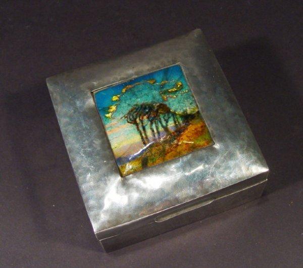 333: Liberty and Co Tudric pewter cigarette box, the li