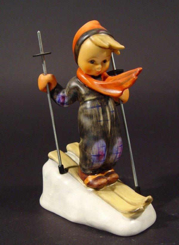 1209: Goebel Hummel china figurine 'Skier', with hand p