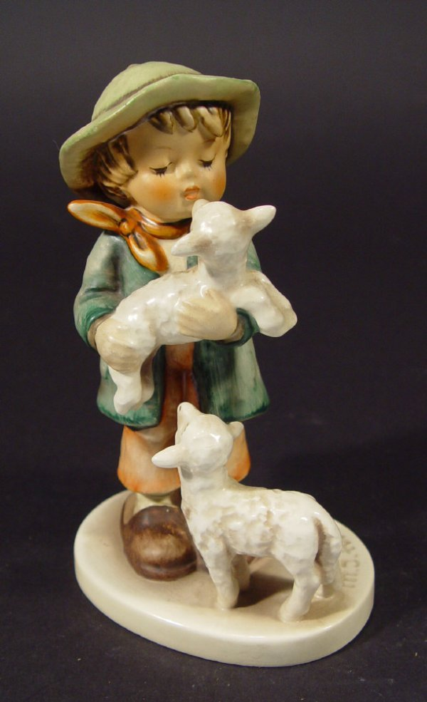 1220: Goebel Hummel china figurine 'Boy with Lambs', wi