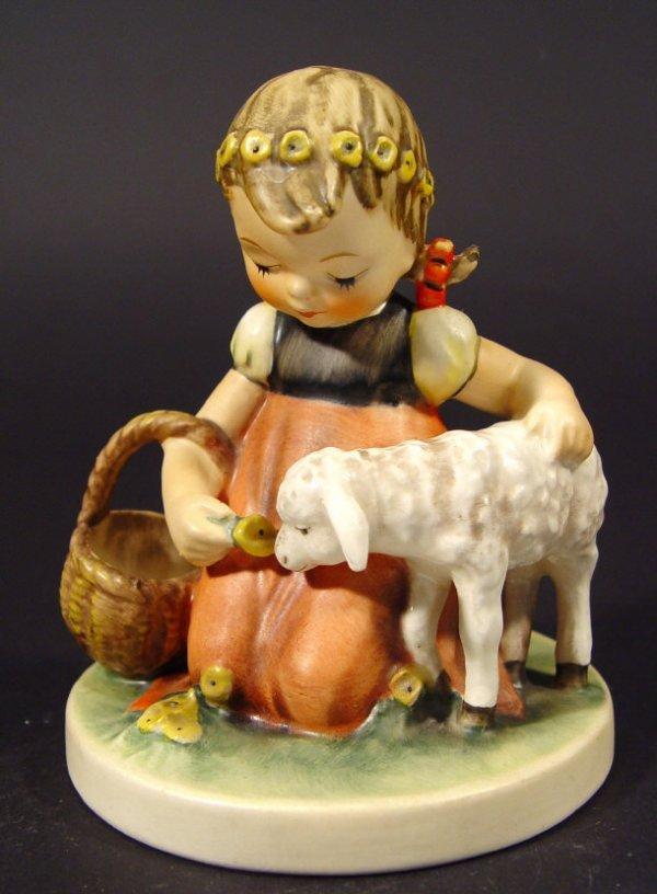 1221: Goebel Hummel china figurine 'Girl with Lamb', wi