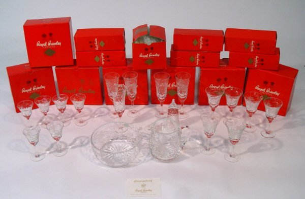 1437: Suite of boxed Royal Brierley crystal, cut with t