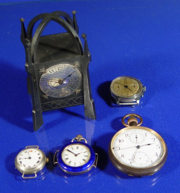 1595: Ladies silver and blue enamel pocket watch, two w
