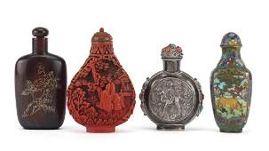 Four Chinese snuff bottles including an unmarked silver