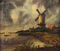 Manner of Jacob Van Ruisdael - The Windmill at Wijk,