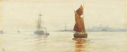 Attributed to William Lionel Wyllie - Boats off the