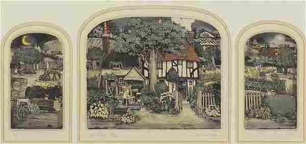 Graham Clarke - Joe's Place, triptych, pencil signed
