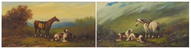M Dickson - Horses and dogs in landscapes, pair of