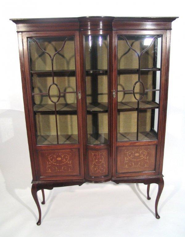 4: Edwardian mahogany china cabinet with floral and swa