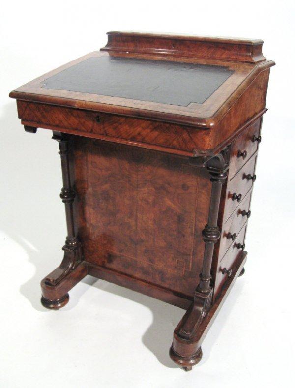 6: Victorian walnut Davenport with inlaid decoration an