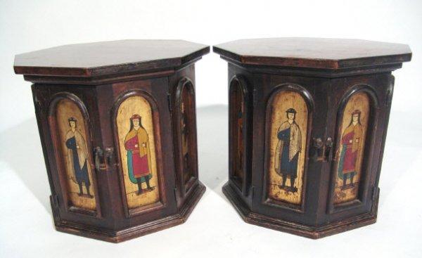 9: Pair of octagonal Arts and Crafts oak pot cupboards,