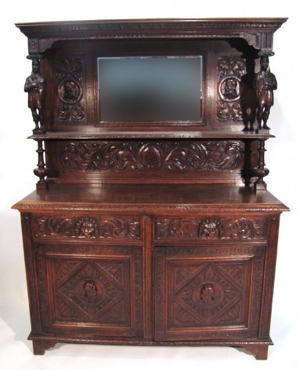 10: Oak dresser, the moulded cornice with knight suppor