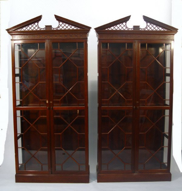 12: Pair of Chippendale design mahogany bookcases, each