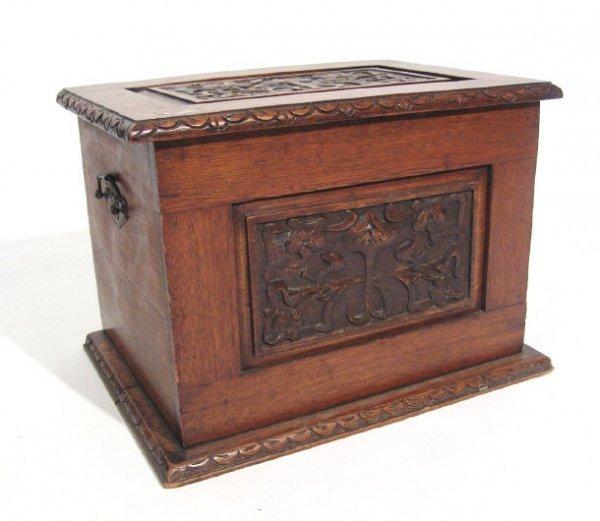 15: Art Nouveau oak coal box with stylised floral carve