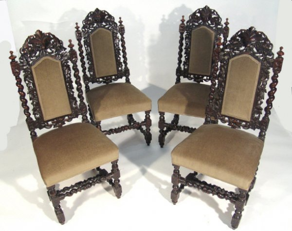 18: Set of four oak Jacobean design dining chairs with