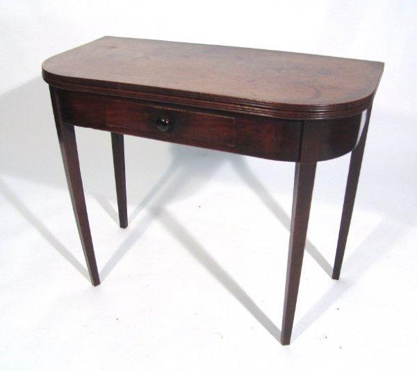 20: 19th century mahogany tea table, the fold-over D-en