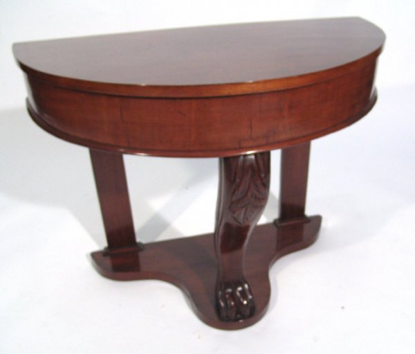 24: Victorian mahogany demi-lune hall table with undert