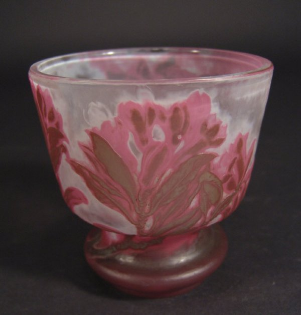 301: Emile Gallé footed cameo glass vase, acid etched a