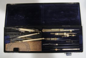 19th Century Set Of Brass, Bone And Wood Draughtsm