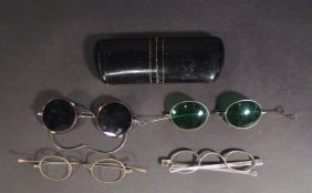 Pair Of 19th Century Silver Spectacles Engraved JA