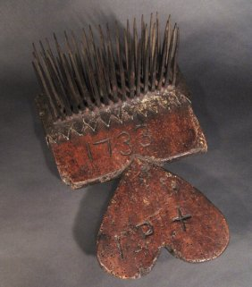18th Century Oak Wool Comb With Handmade Iron Teet