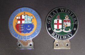Two Enamel Railway Related Car Radiator Badges For
