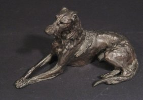 Bronze Study Of A Recumbent Hound, 20cm In Length