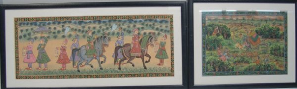 573: Indian gouache painting of figures parading on hor