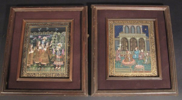 574: Pair of Indian gouache paintings of male figures t