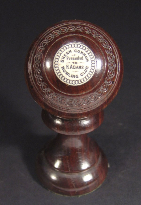 592: Ivory inlaid Sheen Common Bowling Club trophy on s