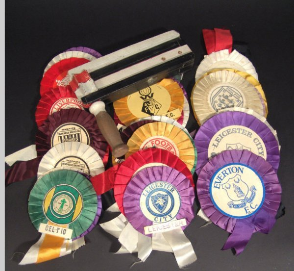 594: Collection of 1970s football club rosettes and a p