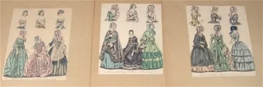 1031: Four hand coloured female fashion plates, each mo